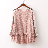 Women's Sweet Floral Lace Crochet Long Sleeve Casual Top