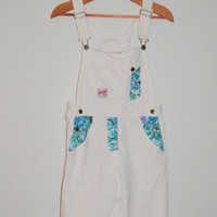Vintage 80s White Denim Jumper Denim Gitano Overalls with Blue and Green Floral Print Size Small