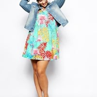 ASOS CURVE Skater Dress In Flamingo Print