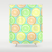 Citrus Wheels (Aqua) Shower Curtain by Lisa Argyropoulos | Society6