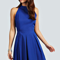 Abby High Neck Solid Colour Skater Dress