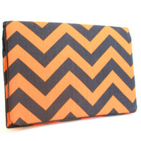 Chevron Clutch LIMITED EDITION Navy /Orange Chevron by FoxyVida