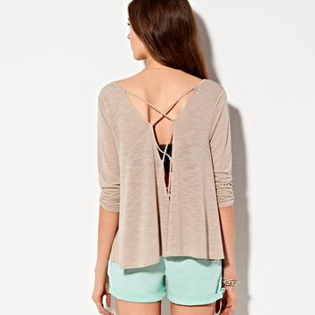 AE FLOWY CROSS BACK SHIRT