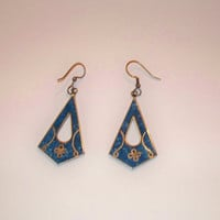 Vintage Alpaca Blue Lapis Silver Earrings Enamel Flower Inlay Mexico Dangle Jewelry Mexican