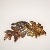 Vintage Avon Leaf Brooch Tri Colored Pin Costume Jewelry