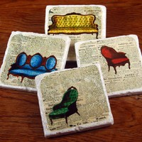 Supermarket - In The Parlor stone coaster set from The Painted Lily