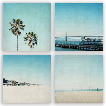 California Beach Photography, teal and cream, aqua home decor, teal beach decor, turquoise LA style - Fine Art Photograph