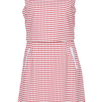 ROMWE Layered Plaid Print Sleeveless Red Dress