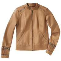 Mossimo Supply Co. Junior's Faux Leather Bomber Jacket -Caramel