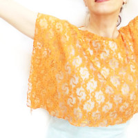 Lace Shawl, Lace Capelet, Lace Scarf, Free Shipping, Lace Shrug, Orange, Costume Design, French Lace Shawl, Laced Accessories, Laced Shawl