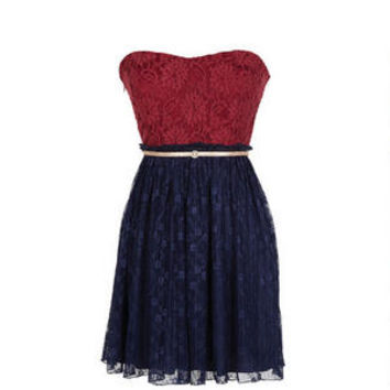 Strapless Red Lace Pleated Dress