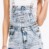 Acid Wash Denim Cut Off Distressed Fringe Shorts Overalls Jumpsuit, L