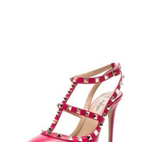 Rockstud Leather Slingbacks T.100 in Cyclamin