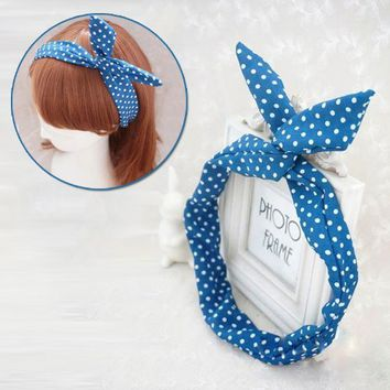 Lovely Korea Korean Girls Rabbit Ear Headband Hair Band Of Ribbon Chiffon WHS306 (1)