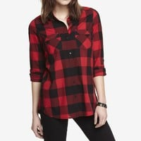 CHECKED CONVERTIBLE SLEEVE BOYFRIEND SHIRT