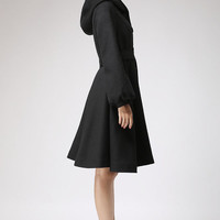 Black wool coat hooded coat winter jacket cashmere coat (711)