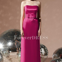 High Waist Bridesmaid Dress With Watermelon Stressing sash Show perfect breasts