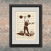 Carnival Vintage  - Strongman Illustration - Athletic Competitions - Vintage Print - Old Circus -Mixed Media -