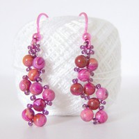 Pink Lace Agate Earrings with pink ear wires