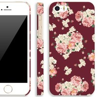 iPhone 5 case for girl, Akna Retro Floral Series Vintage Flower Pattern Rubber Coating Back Case for iPhone 5 5S (Scotch Red)(U.S)