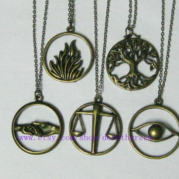 a set of 5pcs The original Divergent Inspired-The flames of courage Erudite,Candor,Amity,Dauntless,Abnegation necklace