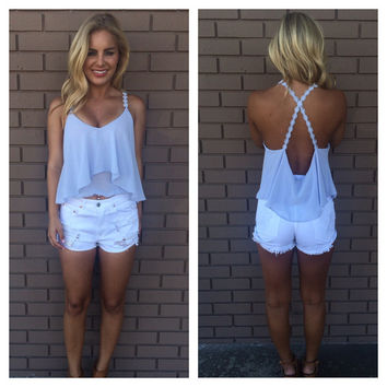 Powder Blue Low Back Crochet Crop Tank
