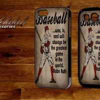 Vintage Baseball Art Babe Ruth Quote For iPhone 4/5/5c/5s,iPod 4/5,Samsung S3/S4, s3/S4 Mini