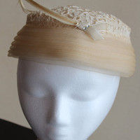 Vintage Hat    cream pillbox style  with by purrfectstitchers