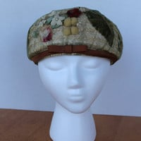 Vintage Hat summer straw pink floral green by purrfectstitchers