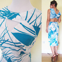 Vintage 80's floral flower white blue cutout hawaiian mini pencil skirt dress pin up