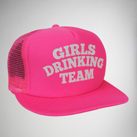 """Girls Drinking Team"" Neon Pink Trucker Hat"