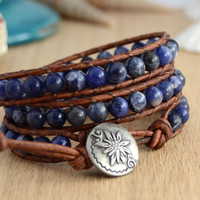 Midnight blue bohemian chic wrap bracelet. Beaded rustic jewelry.