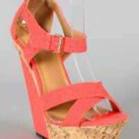 Liliana Peace-15 Canvas Criss Cross Open Toe Wedge