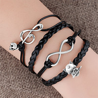 Fashion Jewelry Leather Cute Infinity Charm Bracelet Silver Style Mom Gift Heart