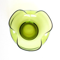 Vintage Hand Blown Glass Bowl. Avacado Green. Mid Century Modern. Fruit Console Serving