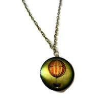 Hot Air Balloon Fantasy  Locket Necklace