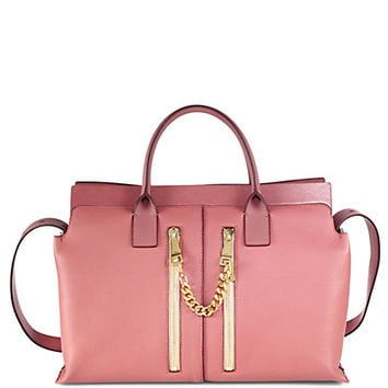 Smooth and Pebble Leather Shoulder Satchel