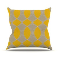 "Kess InHouse Julia Grifol ""Geometries in Yellow"" Outdoor Throw Pillow, 26 by 26-Inch"