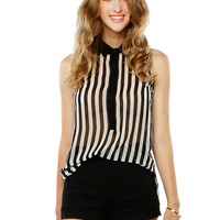 Papaya Clothing Online :: STRIPE CHIFFON BLOUSE TOP