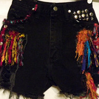 Black Tribal Cut off Shorts Wrangler High Waisted by twazzy