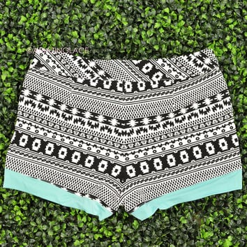 Bali Black & White Aztec Print Mini Shorts