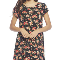 Floral Short Sleeve Dress | Wet Seal