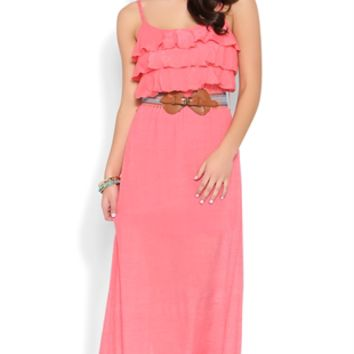 Maxi Dress with Ruffle Neckline and Belted Waist