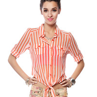 Papaya Clothing Online :: VERTICAL STRIPE KNOTTED BLOUSE