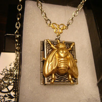Victorian Style Bee Book Locket Necklace in Antique Silver(1777)