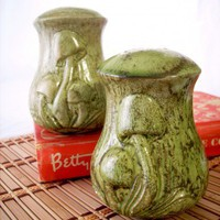 Mottled Moss Green Giant Ceramic Mushroom Salt and Pepper Shakers | CandyAppleCrafts - Kitchen &amp; Serving on ArtFire