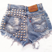 Electra short studded cut off shorts by Omeneye on Etsy