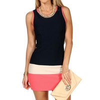 NavyTaupeCoral Colorblock Short Dress