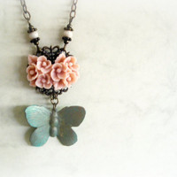 Butterfly and roses Romantic NecklaceSoft pink resin by GBILOBA