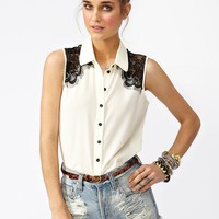 Fringed Lace Shirt - Ivory in What&#x27;s New at Nasty Gal